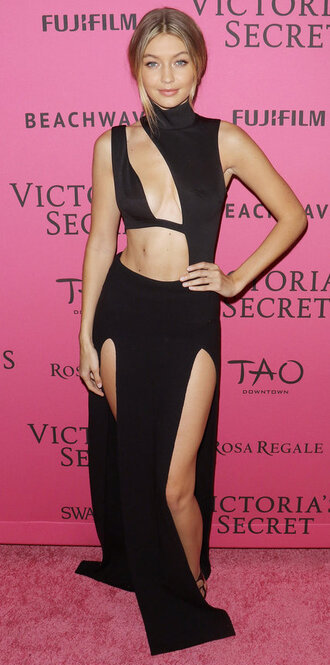 skirt top bustier cut-out gigi hadid black dress slit skirt victoria's secret model asymmetrical shoes sandals all black everything
