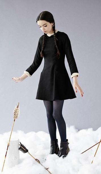 Dress Halloween Halloween Costume Long Sleeve Dress Wednesday