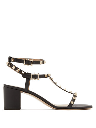 heel sandals leather sandals leather black shoes