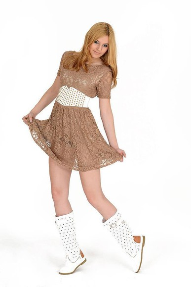 dress brown dress white summer boots
