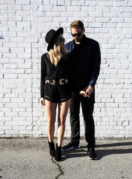 blondecollective blogger romper hat sunglasses belt jacket shirt shoes black romper felt hat ankle boots spring outfits