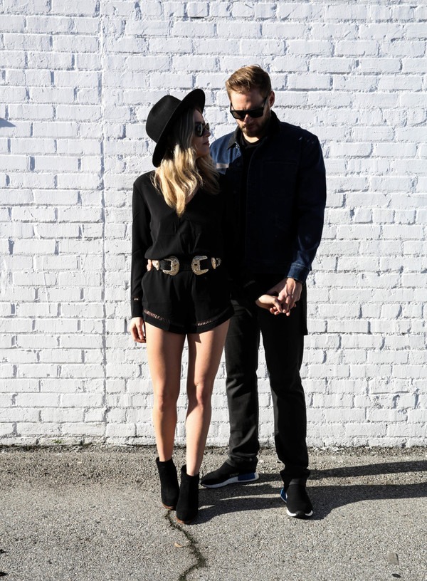 blondecollective blogger romper hat sunglasses belt jacket shirt shoes black romper felt hat ankle boots spring outfits