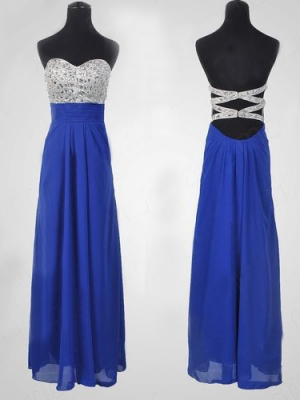Buy Fantastic Royal Blue A-line Sweetheart Floor Length Prom Dress  under 200-SinoAnt.com