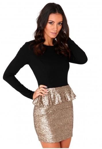 Alessandra Contrast Sequin Peplum Dress- sequin dresses- missguided