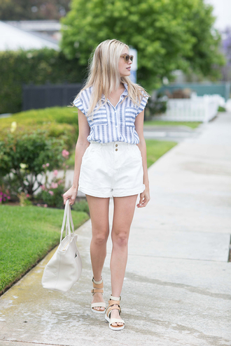modern ensemble blogger shorts shoes bag sunglasses striped top stripes white shorts high waisted shorts white bag flats summer outfits