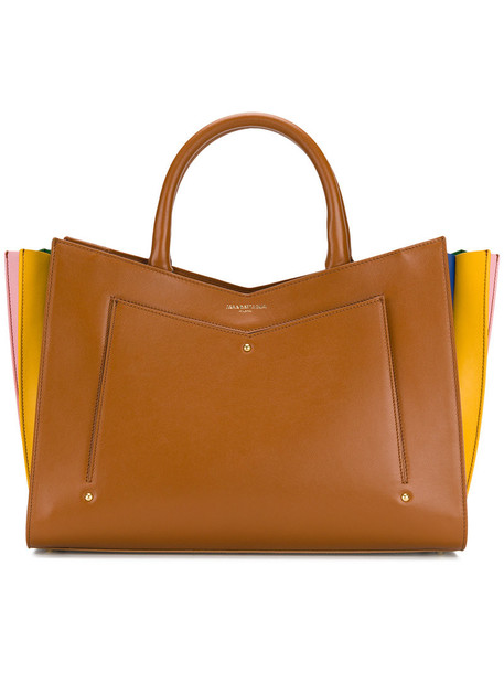 Sara Battaglia pleated women leather brown bag