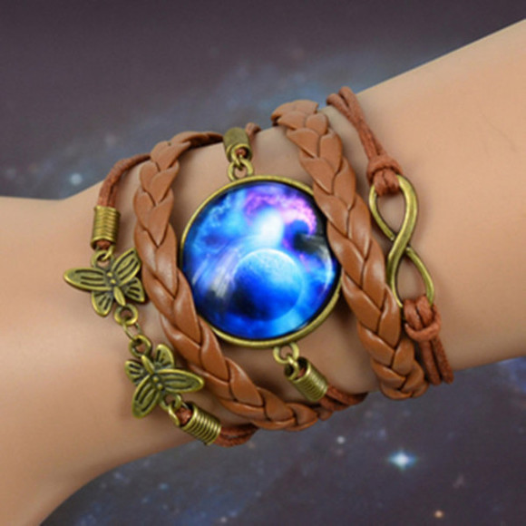 jewels braided fascinating bracelets multi-colored galaxy print stars patten time gem gems
