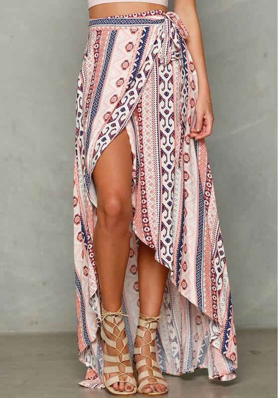 05c0bd4e5 Pink Floral Belt Irregular Side Slits Elastic Waist High Waisted Gypsy Boho  Sexy High-low Skirt