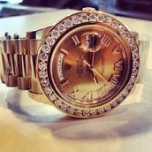 jewels,gold watch,rolex,gold,diamonds,watch,rolex day date watch,rose gold rolex,diamond rolex watch,rolex oyster perpetual diamond gold watch,rolex oyster watch,rolex roman numerals,luxury,classy