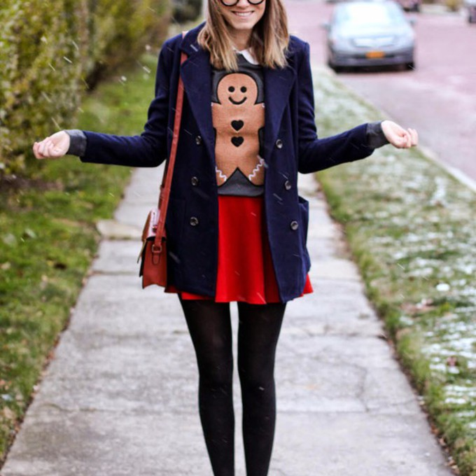 scarf sweater shoes coat skirt red skirt blogger red bag steffy's pros and cons christmas sweater satchel bag preppy scarf red