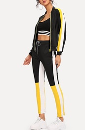 jumpsuit,girly,girl,girly wishlist,black,white,yellow,two-piece,matching set,trainers,track pants,tracksuit,zip,zip-up,zip up jacket,joggers