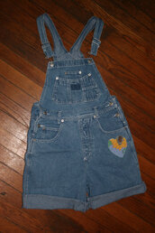 romper,small overalls,overalls,denim overalls,shortalls,90s grunge,grunge,sunflower,small