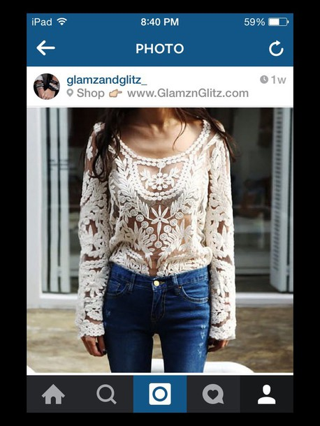 top off-white lace see through long sleeves
