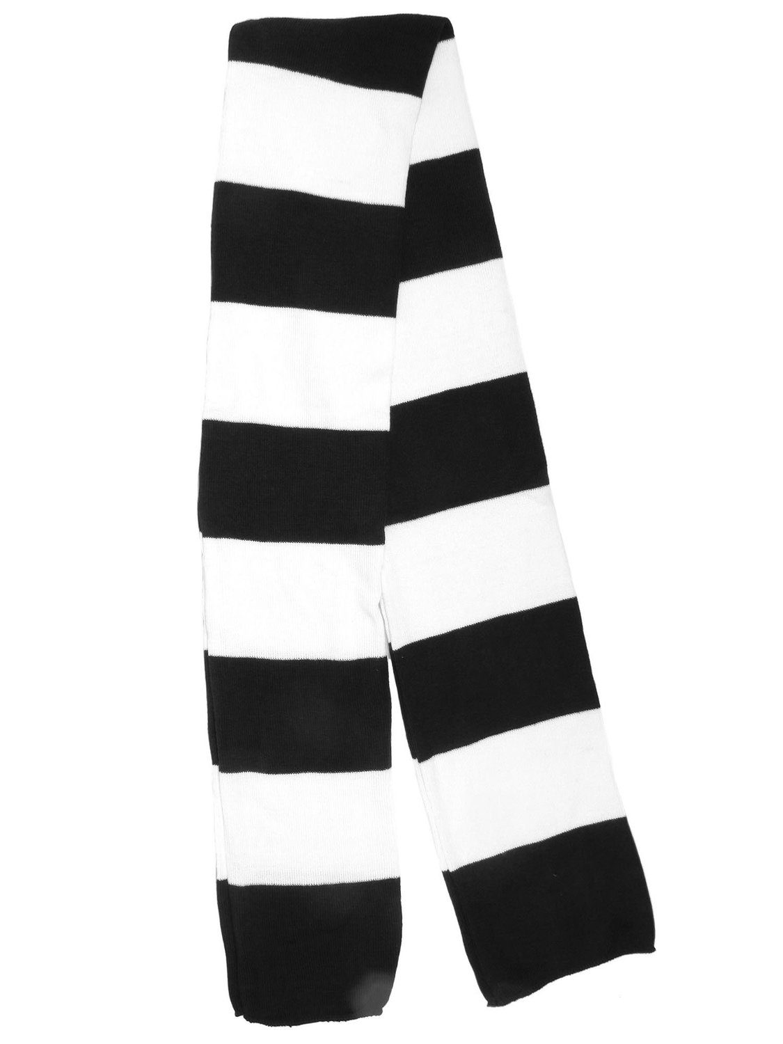 AshopZ Winter Rectangular Acrylic Regby Scarf w/ Bold Stripes Black/White at Amazon Women's Clothing store: