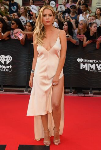 dress ashley benson sandals red carpet dress slit dress gown satin dress plunge dress prom dress nude nude dress shoes nude heels v neck dress pretty little liars mmva awards