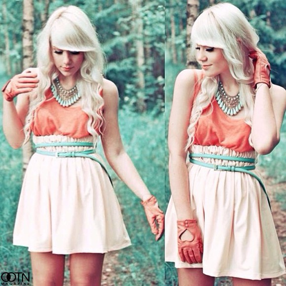 skirt chiffon top jewels tank top highwaisted shorts belt necklace gloves heart cut out shirt