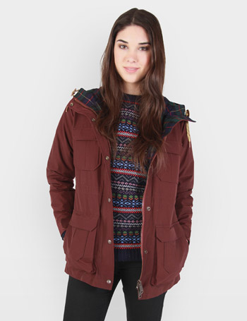 Womens Penfield Kasson Hooded Parka - Burgundy