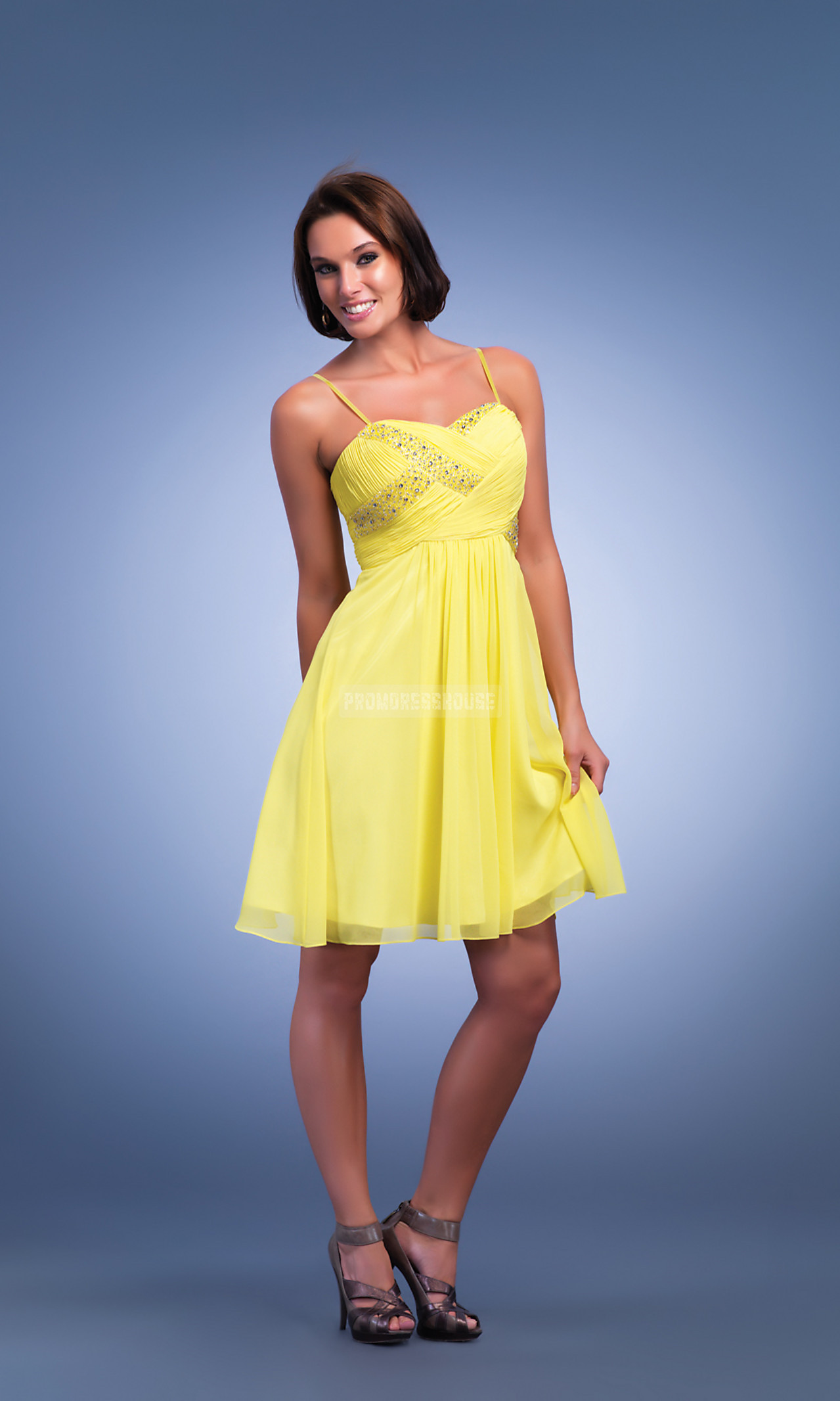 A-line Criss Cross Bodice Spaghetti Straps Daffodil Cocktail Dress - Promdresshouse.com