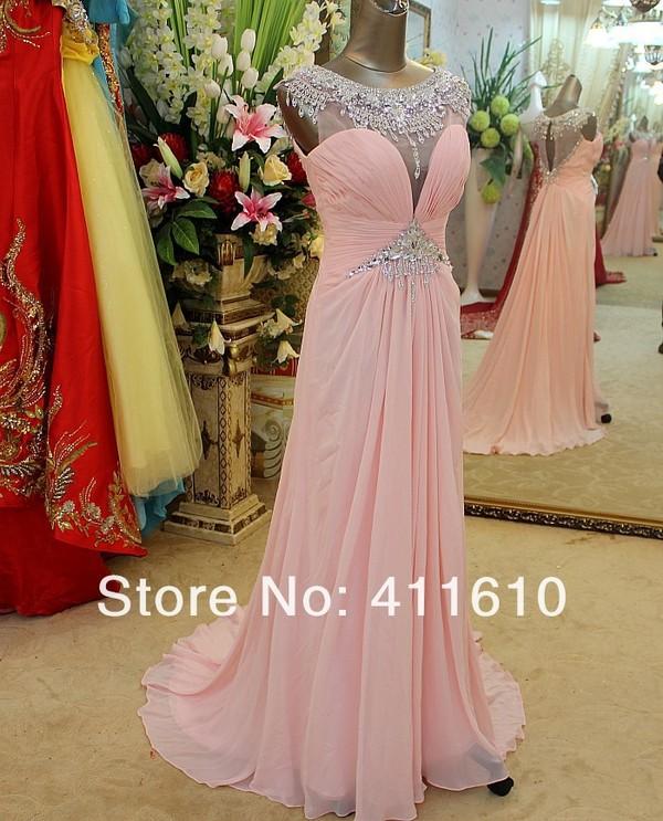 dress pink dress chiffon dress crystals dress evening dress party dresess wonderfuldresses long prom dress