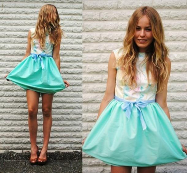 dress aqua bow