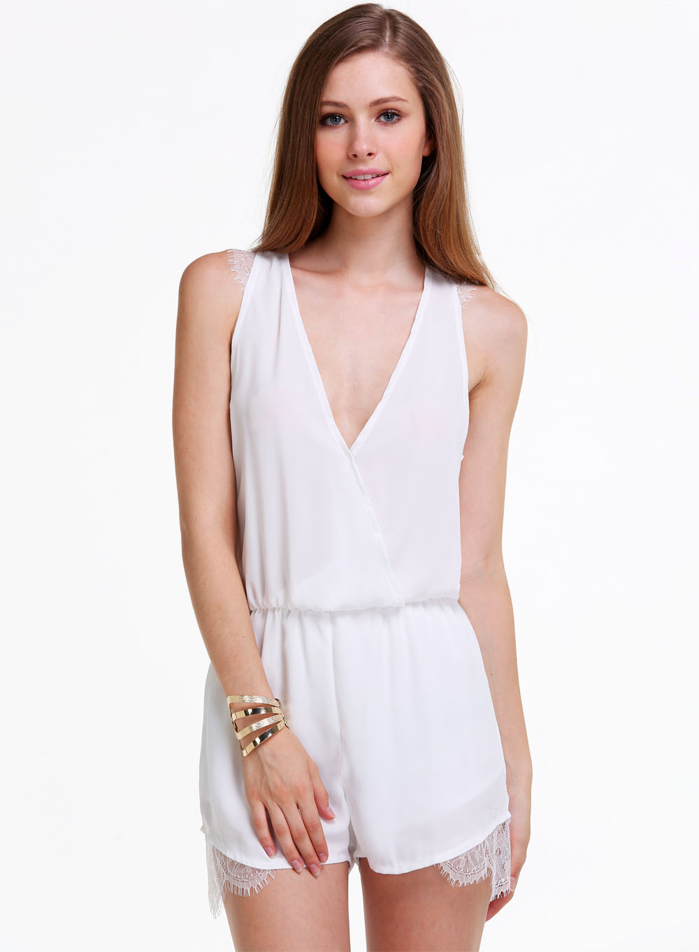 White v neck sleeveless lace jumpsuit