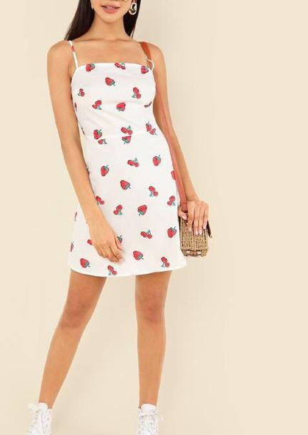 dress girly girl girly wishlist cute cute dress summer summer dress summer outfits white white dress strawberry print red mini mini dress
