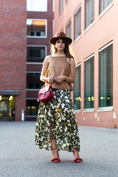 shoes,Aquazzura sandals,aquazzura,red sandals,Red suede sandals,red high heel sandals,sandals,high heel sandals,skirt,maxi skirt,floral skirt,top,high neck,suede top,camel top,bag,red bag,crossbody bag,chloe,chloe bag,felt hat,hat,the fashion fraction,blogger