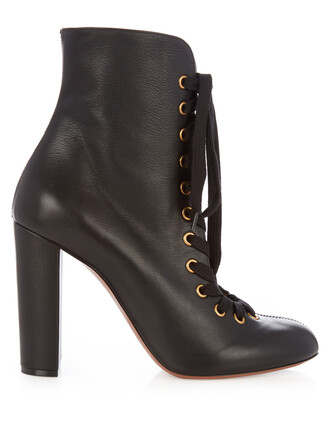 leather ankle boots boots ankle boots lace leather black shoes