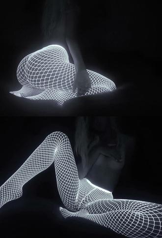 tights neon white white glow in the dark lingerie fishnet tights leggings mesh leggings glow in the dark