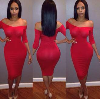 dress red dress 2015 trends bodycon dress midi dress off the shoulder dress sexy dress valentines day girly