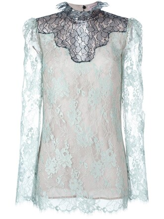 top sheer top sheer lace blue
