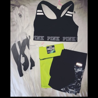 shorts victoria's secret pink by victorias secret pink workout workout shorts sexy workout clothes tank top sportswear sports bra tie dye love
