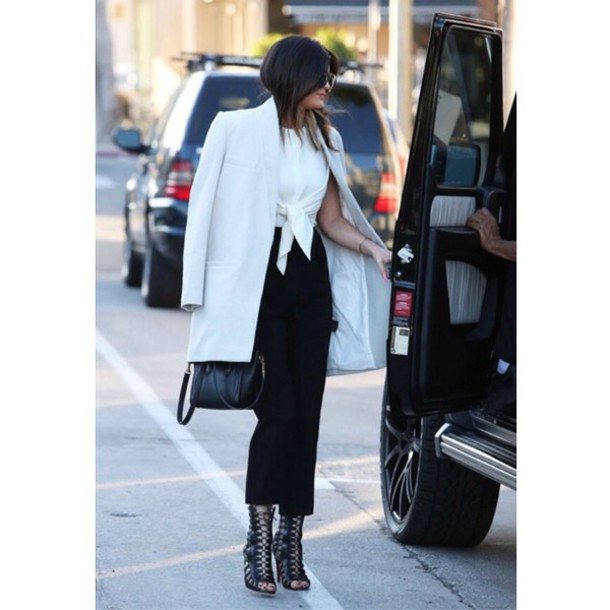 coat white kylie jenner @kylie kylie style love shoes shades classy kyliejenner jumper @kyliejenner. kendall and kylie jenner