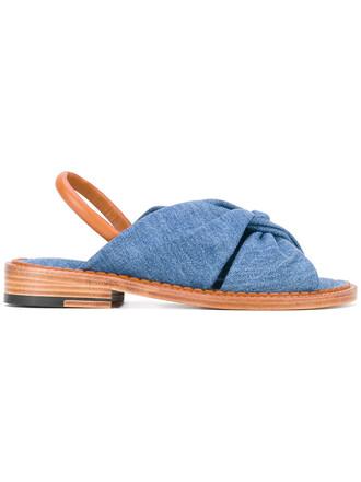 women sandals leather cotton blue shoes