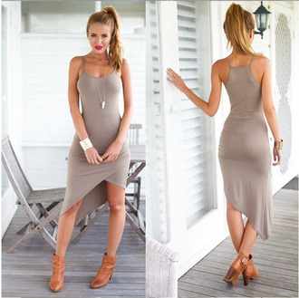 dress khaki sleeveless tight over hip dress khaki dress sleeveless tight figure girl over hip gorgeous summer party summer concert