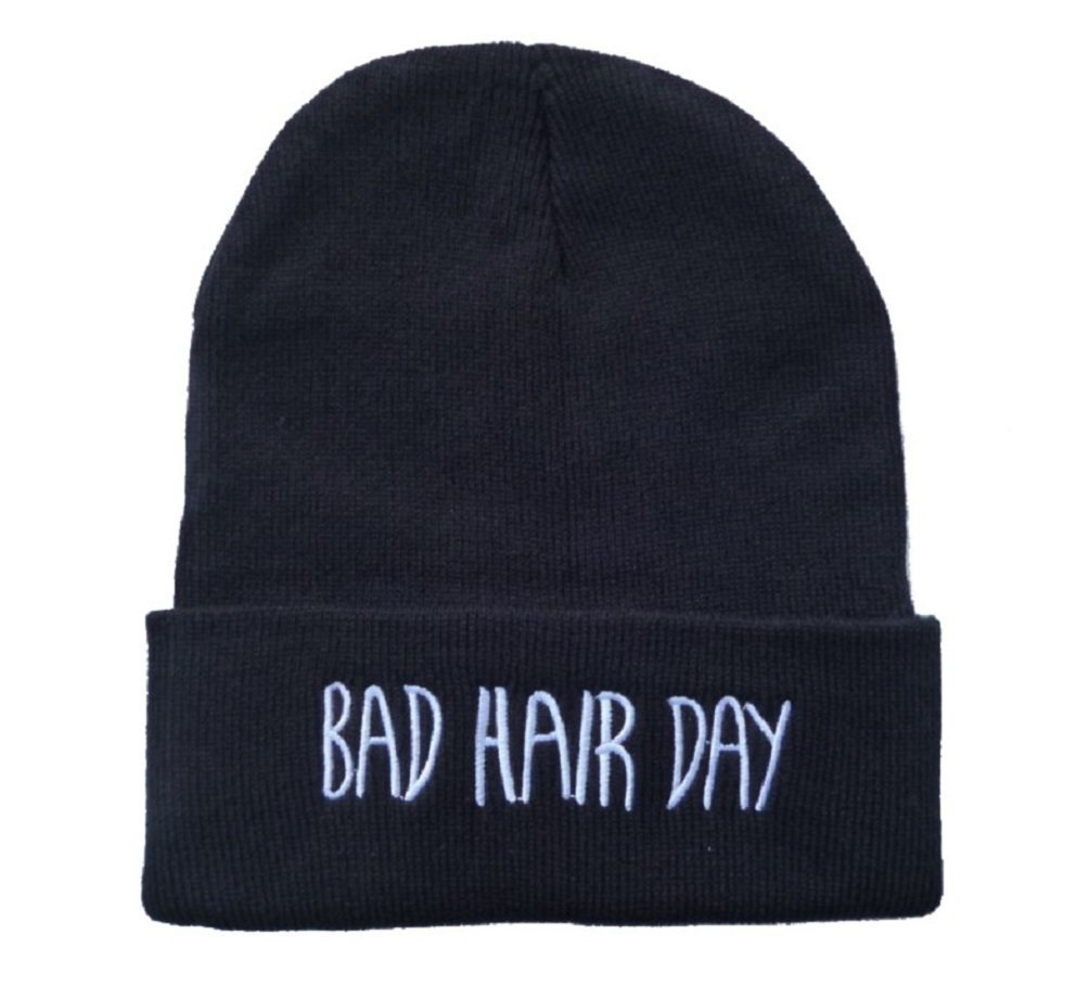 Amazon.com: knit black bad hair day beanie hat letter beanie: sports & outdoors