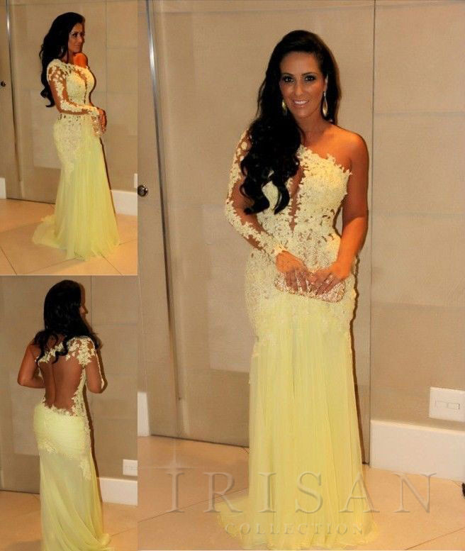 2014 New Yellow Custom One Shoulder Lace Mermaid Long Formal Prom Evening Dress
