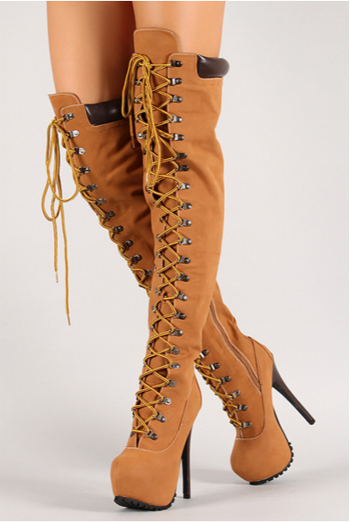 thigh high timberland style over the knee lace up boots. Black Bedroom Furniture Sets. Home Design Ideas