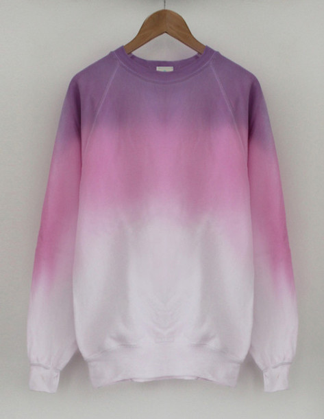 sweater pink sweater purple ombre pink white tie dye ombr?
