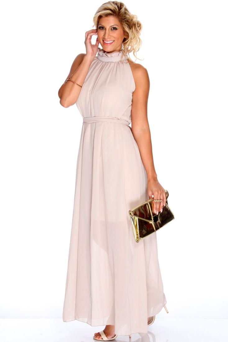 Beige Sheer Chiffon Classy Maxi Dress