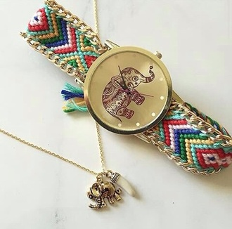 jewels watch necklace gold colorful cute watch elephant beaded