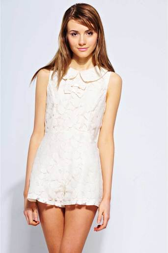 Womens belle peter pan collar lace playsuit on offwhite