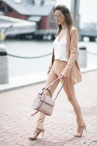 bag sandal heels sandals nude top model spring outfits pants alessandra ambrosio