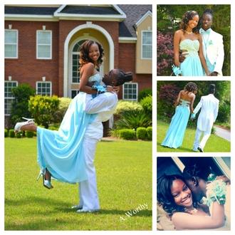 dress prom dress sky blue rhinestones strapless dress