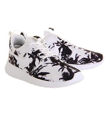 dca0466a7e366 Nike Roshe Run White Black Palm Print - Unisex Sports
