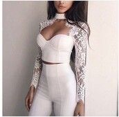 top,lace,white,white lace,jumpsuit,white jumpsuit,long sleeves,long sleeve jumpsuits,bustier crop top,lace top,white pants,party outfits,sexy,sexy outfit,summer outfits,spring outfits,fall outfits,classy,elegant,cute,girly,date outfit,clubwear,wedding clothes,wedding guest,romantic