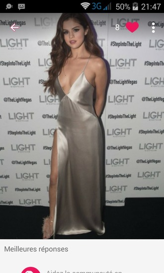 dress silk dress selena gomez slip dress silver dress gown