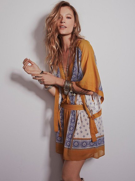 wrap kimono dress summer outfits clothes free people boho tunic wide sleeves kaftan hippie gold blue sheer santa cruz