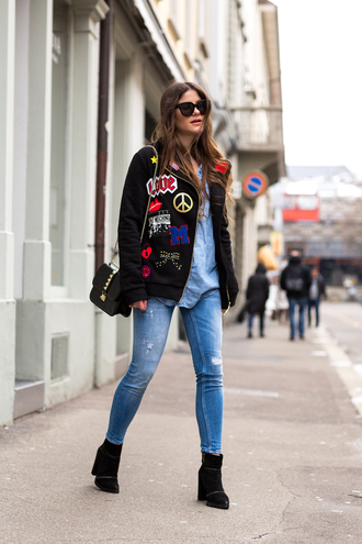 the fashion fraction blogger jacket ripped jeans patch coat shirt jeans shoes bag sunglasses jewels