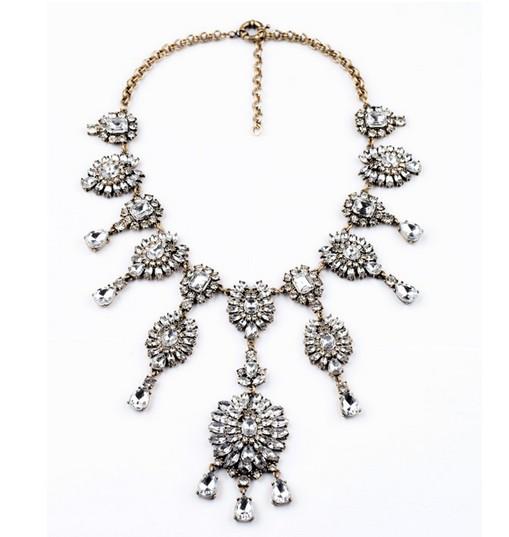 Vintage inspired luxurious statement rhinestone bib necklace wholesale